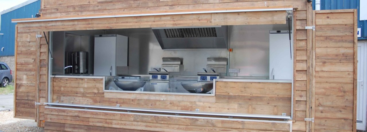 Catering trailer with wood panels
